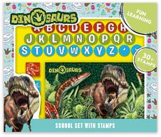 School set with stamps Dinosaurs