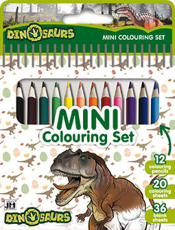 Mini book with colour pencils Dinosaurs
