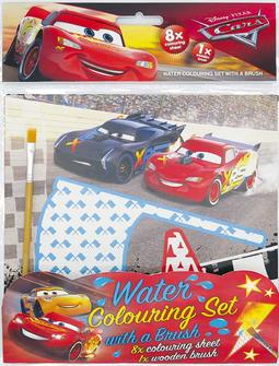 Water colouring set with a bru Cars