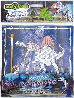 Water colouring set with a bru Dinosaurs